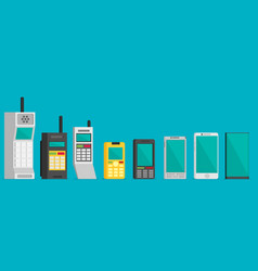 Cell phone evolution flat vector