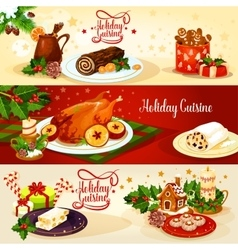Christmas holiday cuisine banner for menu design vector