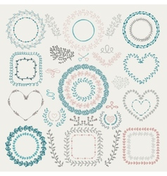 Colorful Hand Drawn Floral Frames Wreaths vector image