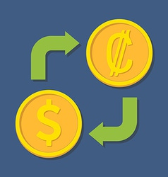Currency exchange dollar and colon vector