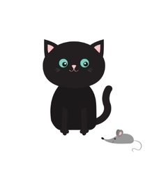 Cute black cartoon sitting cat looking at mouse vector