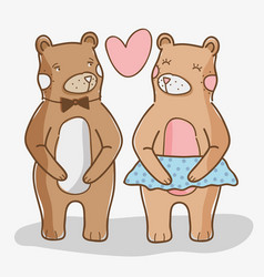 Cute wild bears in love vector