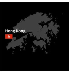 Detailed map of Hong Kong with flag on black vector image