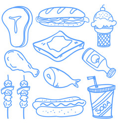 Doodle of food object hand draw vector