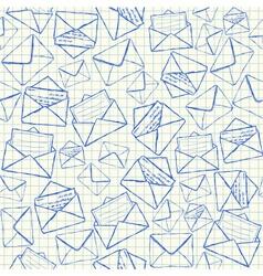 Envelope doodles seamless pattern vector image vector image