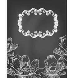 Flowers and frame on chalkboard vector