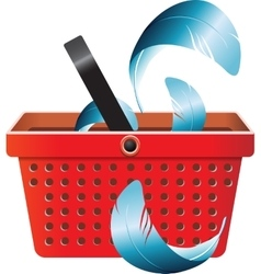 Flying object in shop basket-05 vector image vector image