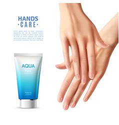 Hand care cream realistic poster vector