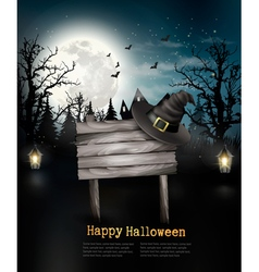 Scary Halloween background with a wooden sign vector image vector image