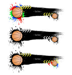 Set grunge banners with blots and basketball balls vector
