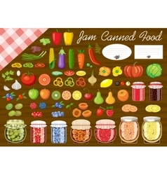 Set of fruit and vegetables for jam and canned vector