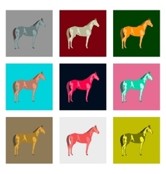 Set of in flat style horse vector