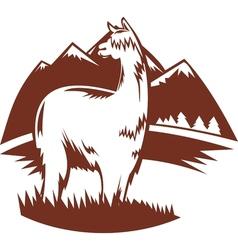 Suri alpaca with mountains vector