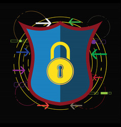 technology digital cyber security lock shield vector image
