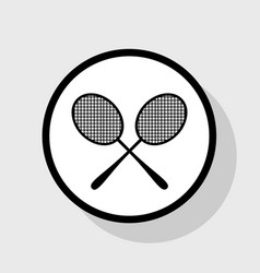 Tennis racquets sign flat black icon in vector