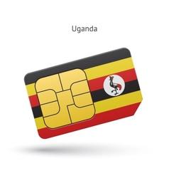 Uganda mobile phone sim card with flag vector