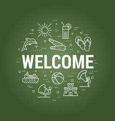 welcome summer concept on board vector image vector image