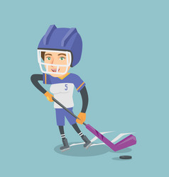 Young caucasian ice hockey player with a stick vector