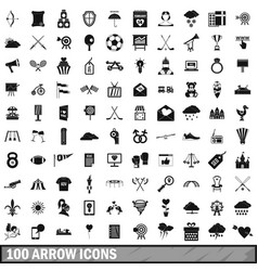 100 arrow icons set simple style vector