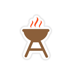 Paper sticker american bbq on white background vector