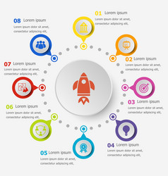 Infographic template with startup icons vector