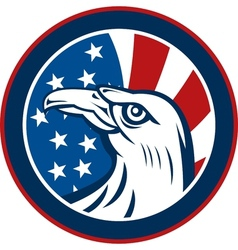 American eagle with stars and stripes flag vector image