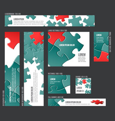 Banner templates collection with abstract puzzle vector