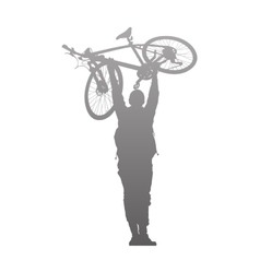 Silhouette of man to rise above a bike vector