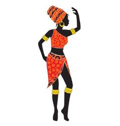 Silhouette of dancing african woman vector