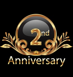 2nd anniversary birthday in gold vector image vector image