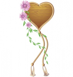 Wooden heart pendant vector