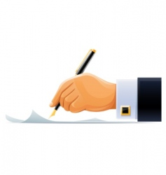 whitening hand with pen vector image