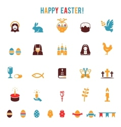 Easter icons-silhouettes vector