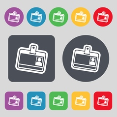 Id card icon sign a set of 12 colored buttons flat vector