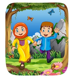 Muslim couple holding hands in the forest vector