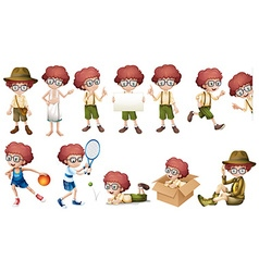 Boy character in different actions vector image