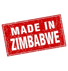 Zimbabwe red square grunge made in stamp vector