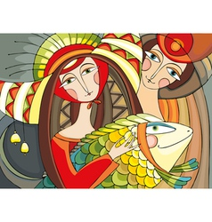 Girl man fish vector