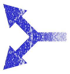 Bifurcation arrow left grunge textured icon vector