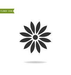Black flat silhouette object of flower for logo vector