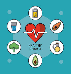 Blue poster of healthy lifestyle with heart pulse vector