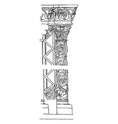 Carved pier in church at st jak hungary vintage vector