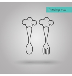 Chef hat on spoon and fork vector
