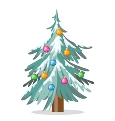 Christmas Tree Isolated on White Cartoon Fir vector image vector image