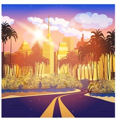 city at sunrise vector image vector image
