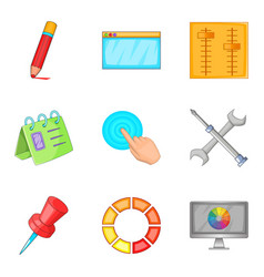 Creative business project icons set cartoon style vector