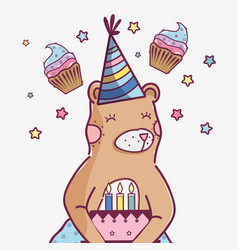 Cute wild bear with a delicious cake vector