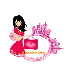 fashion girl Shopping - abstract vector image vector image