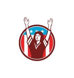 Female american football fan circle retro vector