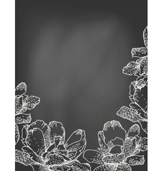 Flowers on chalkboard vector